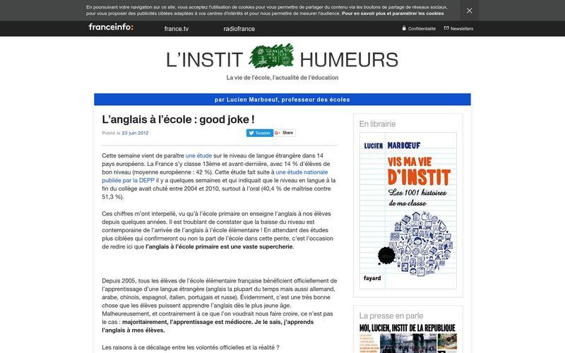 L'anglais à l'école : good joke ! Francetv info